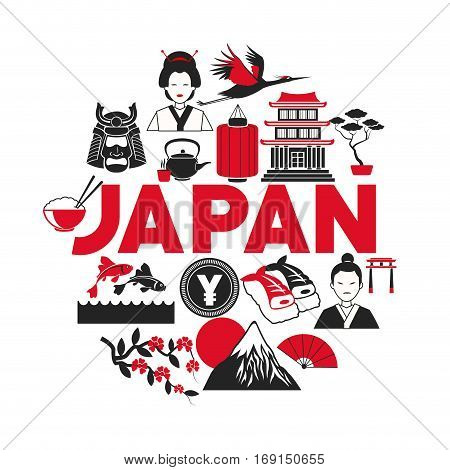 japan poster tourism collection icons vector illustration