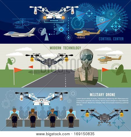 Military drone mdern army aviation and weapons. Fighting flying robots war technology of future. Fighter aircraft helicopters quadrocopters military drones powerful army control center