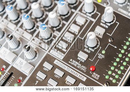 Sound Mixer Control Panel. Sound Controller Recording Studio. Music Concept.