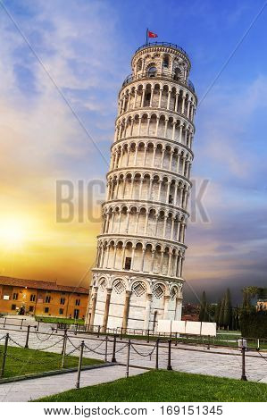 Pisa place of miracles: the leaning tower and the cathedral baptistery tuscany Italy