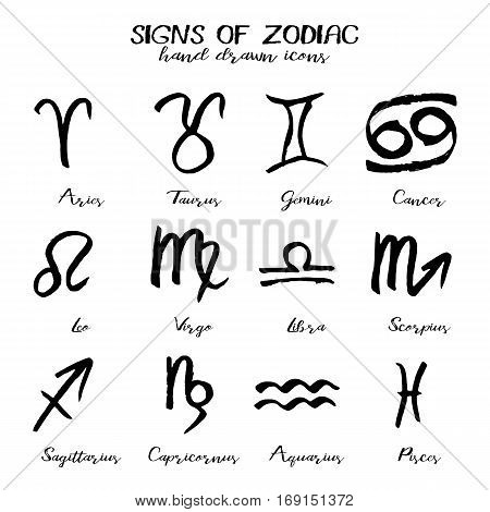 Set of icons with signs of Zodiac in hand drawn technique and grunge style isolated on white background. Symbols of zodiac horoscope. Vector illustration