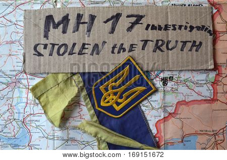ILLUSTRATIVE EDITORIAL.Chevron of Ukrainian army. January 8,2017,Kiev, Ukraine