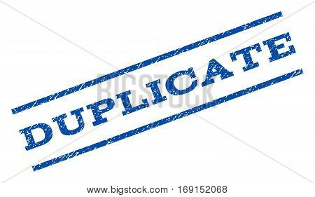 Duplicate watermark stamp. Text tag between parallel lines with grunge design style. Rotated rubber seal stamp with dirty texture. Vector blue ink imprint on a white background.