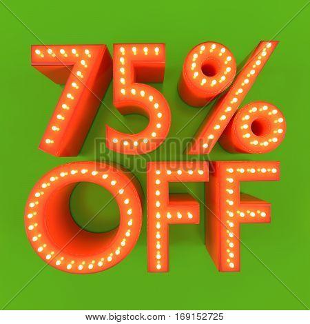 75% off discount offer sale price orange green 3D illustration