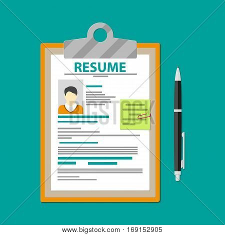 Human resources management concept, searching professional staff, work, analyzing resume, clipboard with resume documents and pen. Vector illustration in flat design
