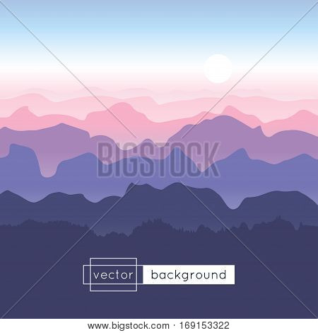 Vector landscape with sunrise mountains and blue sky in gradient colors. Template of banner backdrop poster or splash screen. Background with morning in the mountains.
