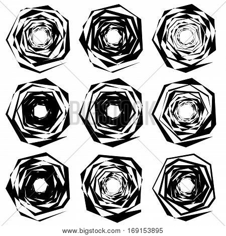 Set Of Edgy, Chaotic Shape In 9 Version