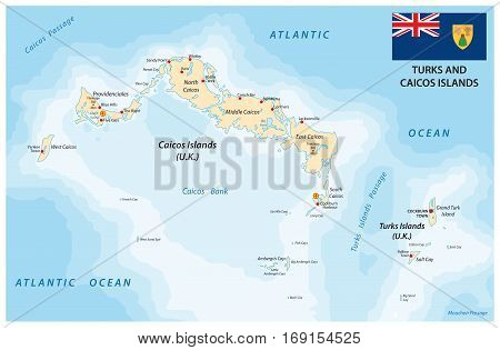 turks and caicos islands vector map with flag