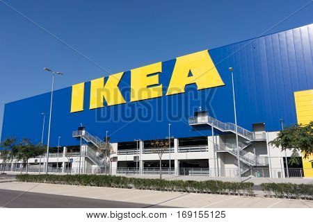 VALENCIA, SPAIN - DECEMBER 30, 2016: An Ikea home furnishings store exterior. Ikea is a Swedish multinational group of companies that designs and sells ready-to-assemble furniture.