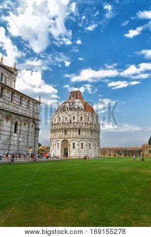 San Giovanni Baptistery in a sunny day Pisa Italy