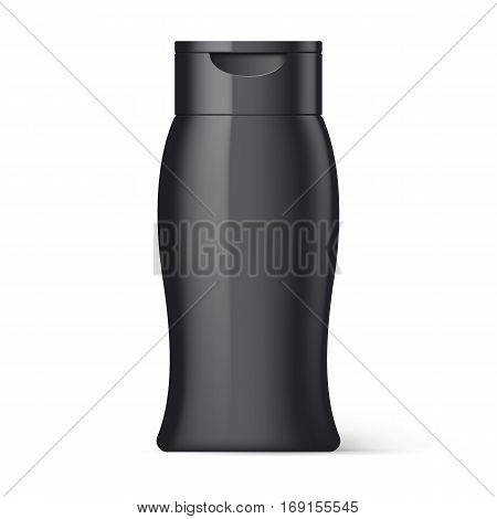 Black Plastic Bottle of Shampoo Packaging Isolated on White Background