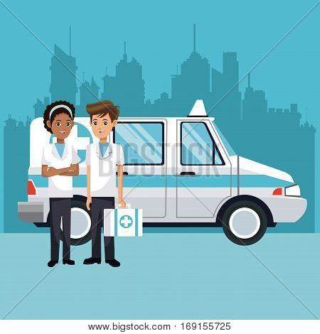 people ambulance with kit first aid urban background vector illustration eps 10