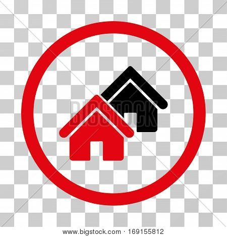Realty icon. Vector illustration style is flat iconic bicolor symbol intensive red and black colors transparent background. Designed for web and software interfaces.