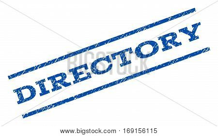 Directory watermark stamp. Text tag between parallel lines with grunge design style. Rotated rubber seal stamp with unclean texture. Vector blue ink imprint on a white background.