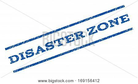 Disaster Zone watermark stamp. Text caption between parallel lines with grunge design style. Rotated rubber seal stamp with scratched texture. Vector blue ink imprint on a white background.