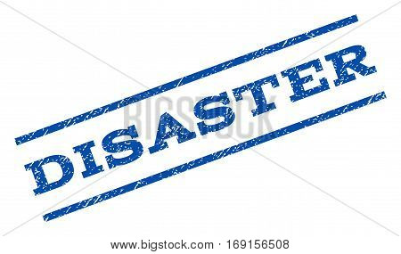 Disaster watermark stamp. Text caption between parallel lines with grunge design style. Rotated rubber seal stamp with dust texture. Vector blue ink imprint on a white background.