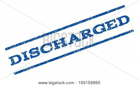 Discharged watermark stamp. Text tag between parallel lines with grunge design style. Rotated rubber seal stamp with unclean texture. Vector blue ink imprint on a white background.