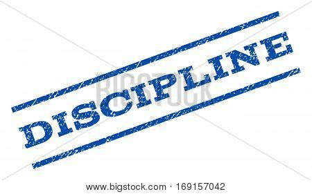 Discipline watermark stamp. Text caption between parallel lines with grunge design style. Rotated rubber seal stamp with dirty texture. Vector blue ink imprint on a white background.