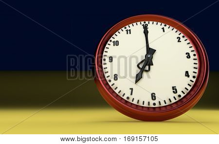 big clock deadline rush time seven o'clock 3D illustration