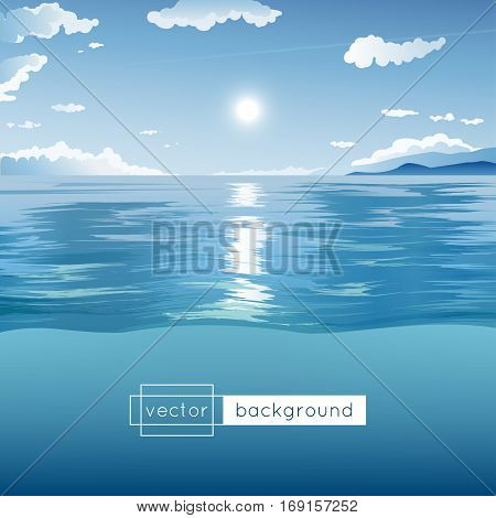 Vector landscape with sea blue sky sun clouds and hills in the noon in gradient colors for use as a template of banner backdrop poster or splash screen.