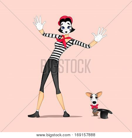 A girl mime performing a pantomime called behind an invisible wall