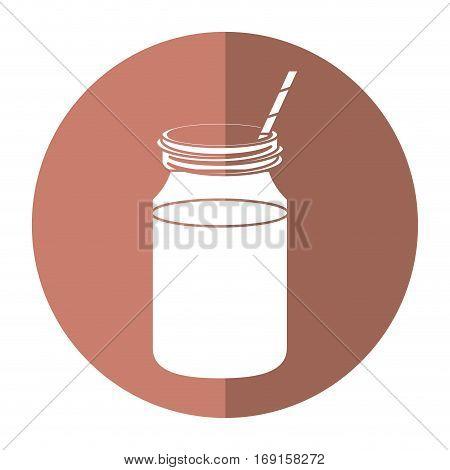 coffee glass jar straw foam-circle icon shadow vector illustration eps 10 poster