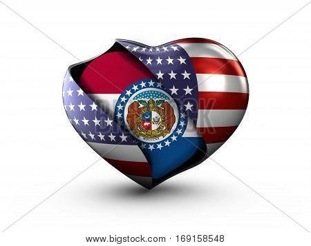 USA State Missouri flag on white background. 3d Illustration.