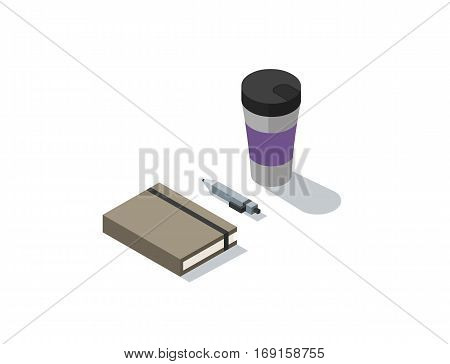 Vector isometric illustration of notebook with coffee, 3d flat coffee brake during working day concept.