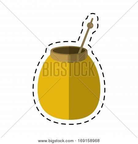 mate tea calabash herb-cut line vector illustration eps 10