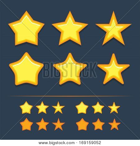 Vector star icons set. Collection icon design for game