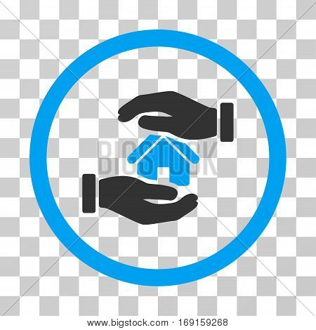 Realty Insurance Hands icon. Vector illustration style is flat iconic bicolor symbol blue and gray colors transparent background. Designed for web and software interfaces.