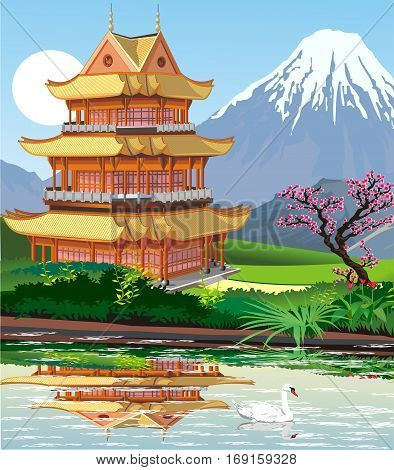 Landscape - Japanese pagoda by the lake. Swans on the lake. The view of the volcano. Vector illustration