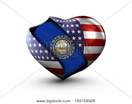 USA State New Hampshire flag on white background. 3d Illustration.