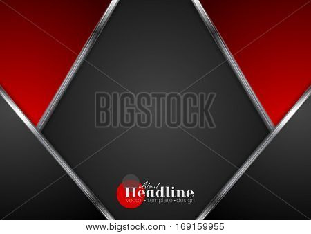 Silver metallic lines, contrast red black tech background. Vector digital design with metal stripes