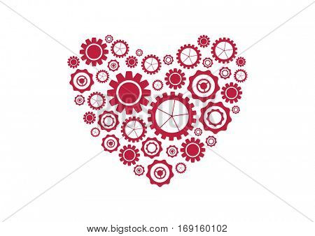 Bright red heart from tech gears abstract background. St Valentines Day vector design