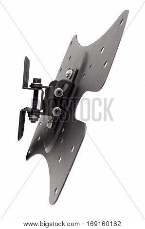 Black bracket for TV on a white background isolation
