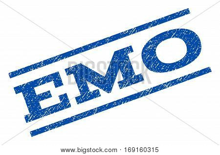 Emo watermark stamp. Text caption between parallel lines with grunge design style. Rotated rubber seal stamp with dirty texture. Vector blue ink imprint on a white background.