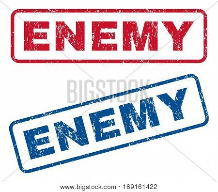 Enemy text rubber seal stamp watermarks. Vector style is blue and red ink caption inside rounded rectangular banner. Grunge design and unclean texture. Blue and red emblems.