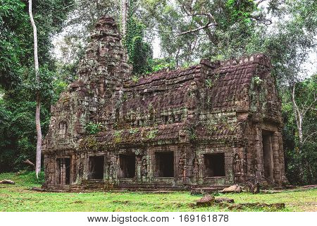 Tower, Huge Trees And Galleries In Preah Khan Temple