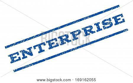 Enterprise watermark stamp. Text tag between parallel lines with grunge design style. Rotated rubber seal stamp with dust texture. Vector blue ink imprint on a white background.