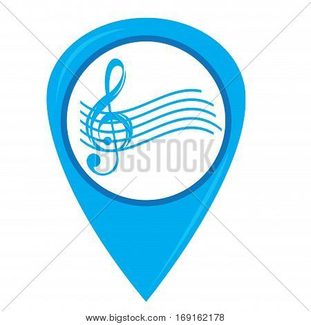 Isolated musical pentagram on a pin, Vector illustration