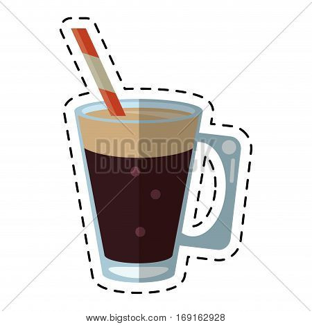 mocca coffee cup cream straw drink - dot line vector illustration eps 10