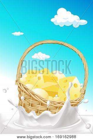 Basket full of cheese floating in milk splash - vector illustration
