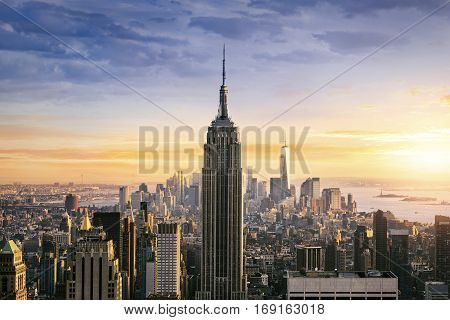 NEW YORK CITY, NY - July 11 2015 : Empire State Building closeup on July 11, 2015 in NYC. Empire State Building is a 102-story landmark and was world's tallest building for more than 40 years.