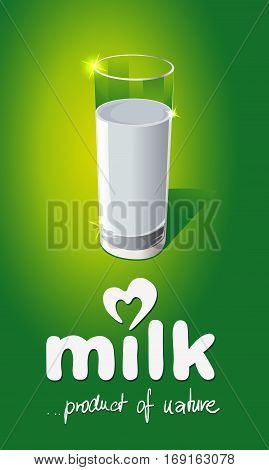 Milk design with glass on green background - vector illustration