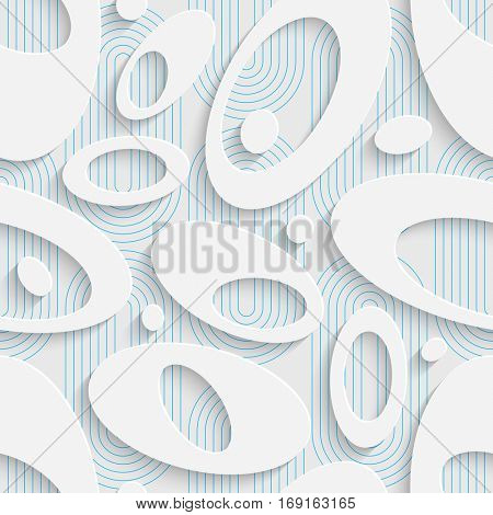 Seamless Beautiful Ellipse Pattern. Abstract Ornament Background. White Origami Wallpaper. Art Graphic Design