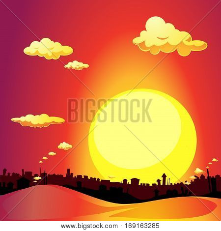 red city sunset silhouette - vector illustration