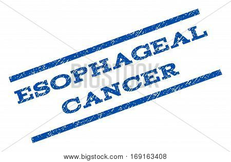 Esophageal Cancer watermark stamp. Text caption between parallel lines with grunge design style. Rotated rubber seal stamp with dirty texture. Vector blue ink imprint on a white background.