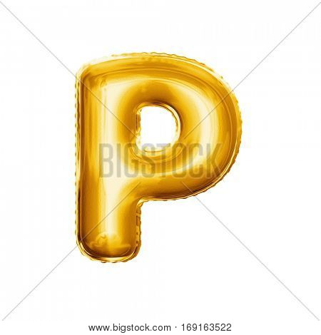 Balloon letter P. Realistic 3D isolated gold helium balloon abc alphabet golden font text. Decoration element for birthday or wedding greeting design on white background