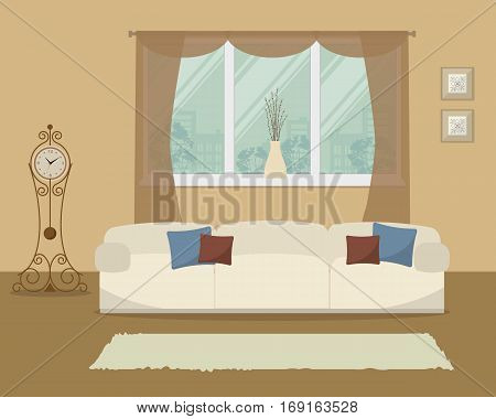 Living room in a beige color. There is a sofa with pillows on a window background in the picture. There is also a grandfather clock here. Vector flat illustration.